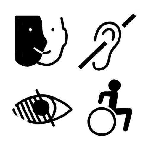 Handicap mental et handicap psychique, handicap auditif, handicap visuel, handicap moteur.