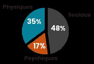 Facteurs de vulnérabilité personnes âgées en établissement. Facteurs sociaux, 48%. Facteurs physiques, 35%. Facteurs psychiques, 17%.