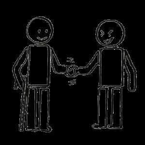 Une personne handicapée sourit d'un air confiant. Elle échange une poignée de main avec un personnage qui a l'air d'avoir de mauvaises intentions.