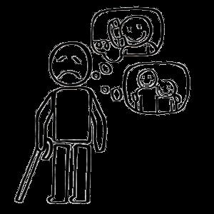 Par exemple : La personne handicapée est privée de téléphone. Elle est privée de contact avec sa famille, avec ses amis.