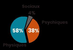 Facteurs de vulnérabilité personnes âgées à domicile. Physiques, 58%. Psychiques, 38%. Sociaux, 4%.