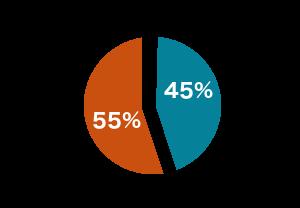 55 pour cent de femmes et 45 pour cent d'hommes