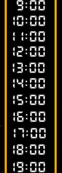 Les heurs pour appeler : 9 heures, 10 heures, 11 heures, midi, 13 heures, 14 heures, 15 heures, 16 heures, 17 heures, 17 heures, 19 heures.