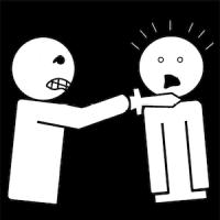 Je menace une personne avec un couteau.